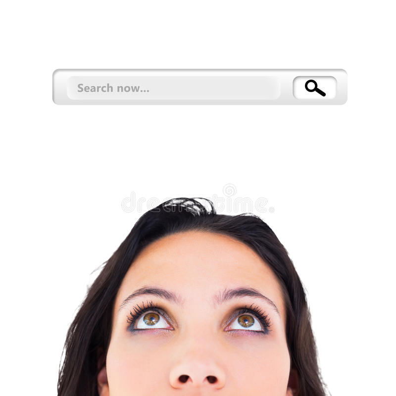 Composite image of pretty brunette looking up thoughfully vector illustration