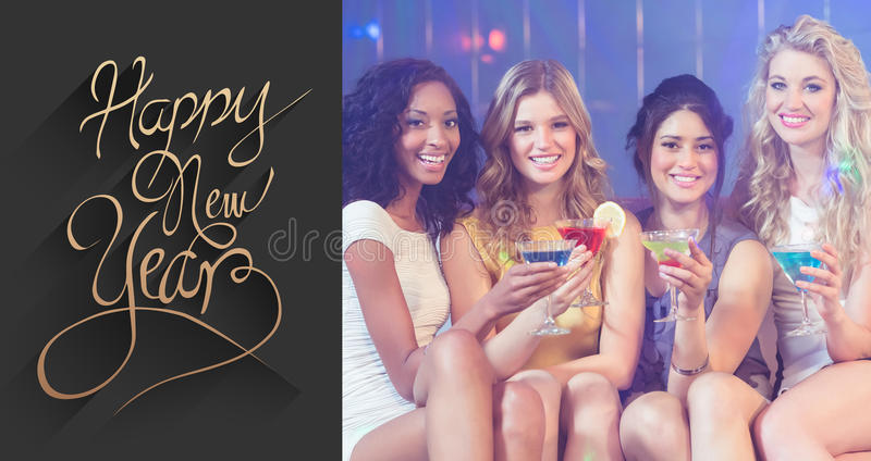 Composite image of pretty girls with cocktails stock photos