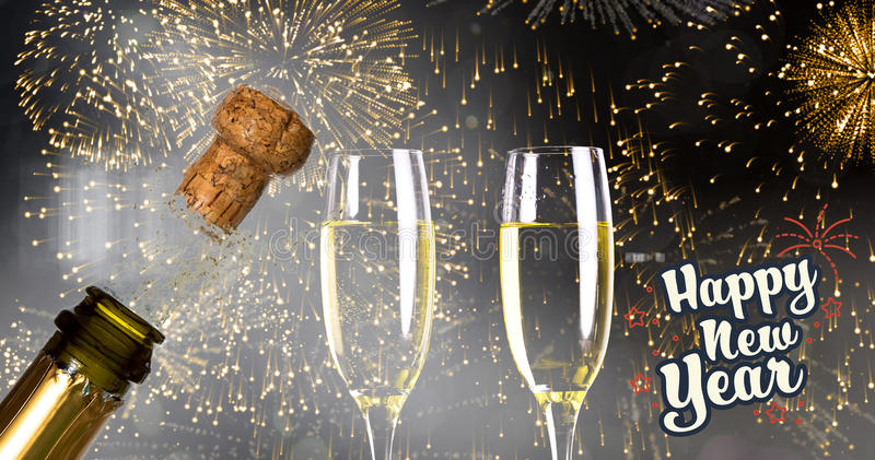 Composite image of print. Print against close up of champagne cork popping royalty free stock photography