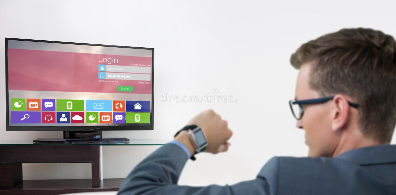 Composite image of rear view of businessman checking his smart watch. Rear view of businessman checking his smart watch against various computer icons with stock image