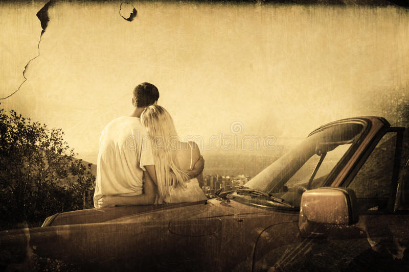 Composite image of rear view of couple hugging and admiring panorama. Rear view of couple hugging and admiring panorama against grey background stock illustration