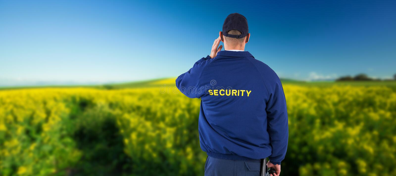 Composite image of rear view of security officer listening to earpiece. Rear view of security officer listening to earpiece against yellow mustard field royalty free stock photo