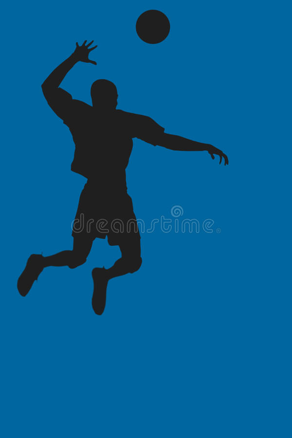 Composite image of rear view of sportsman posing while playing volleyball. Rear view of sportsman posing while playing volleyball against royal blue vector illustration