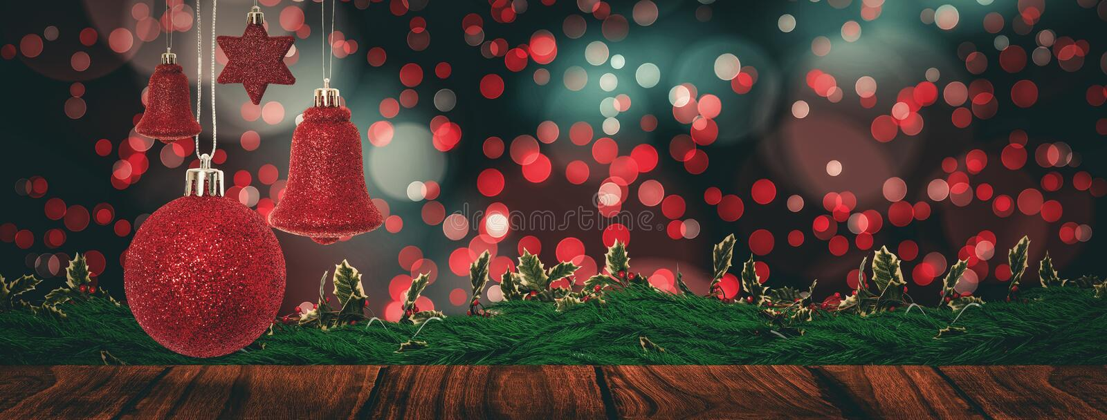 Composite image of red christmas bell decoration hanging stock illustration