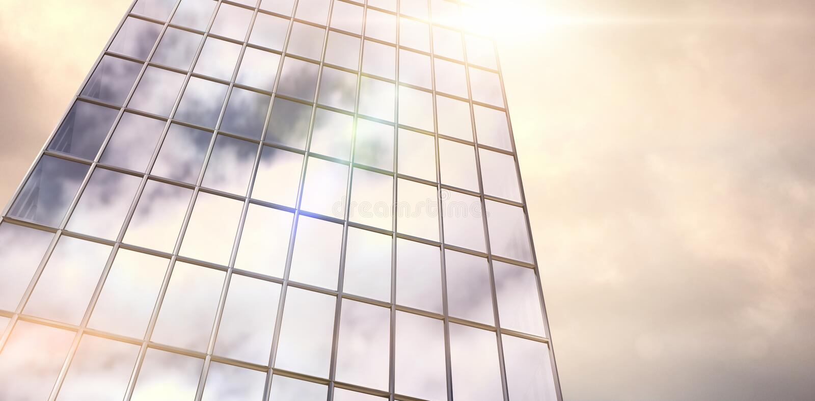 Composite image of reflection of sky on modern building stock illustration