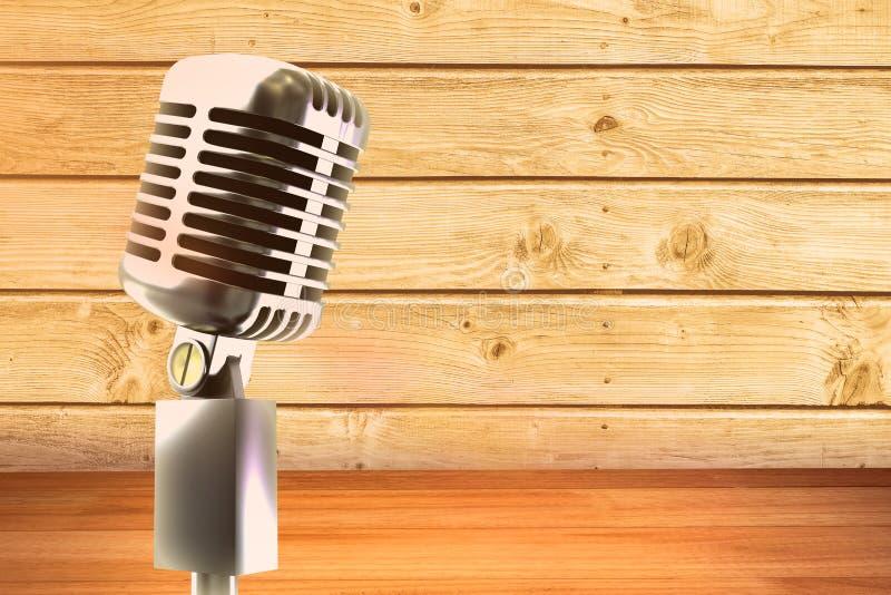 Composite image of retro chrome microphone. Retro chrome microphone against a wall stock illustration