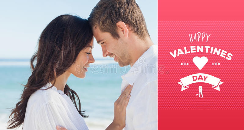 Composite image of romantic couple relaxing and embracing on the beach. Romantic couple relaxing and embracing on the beach against happy valentines day stock illustration