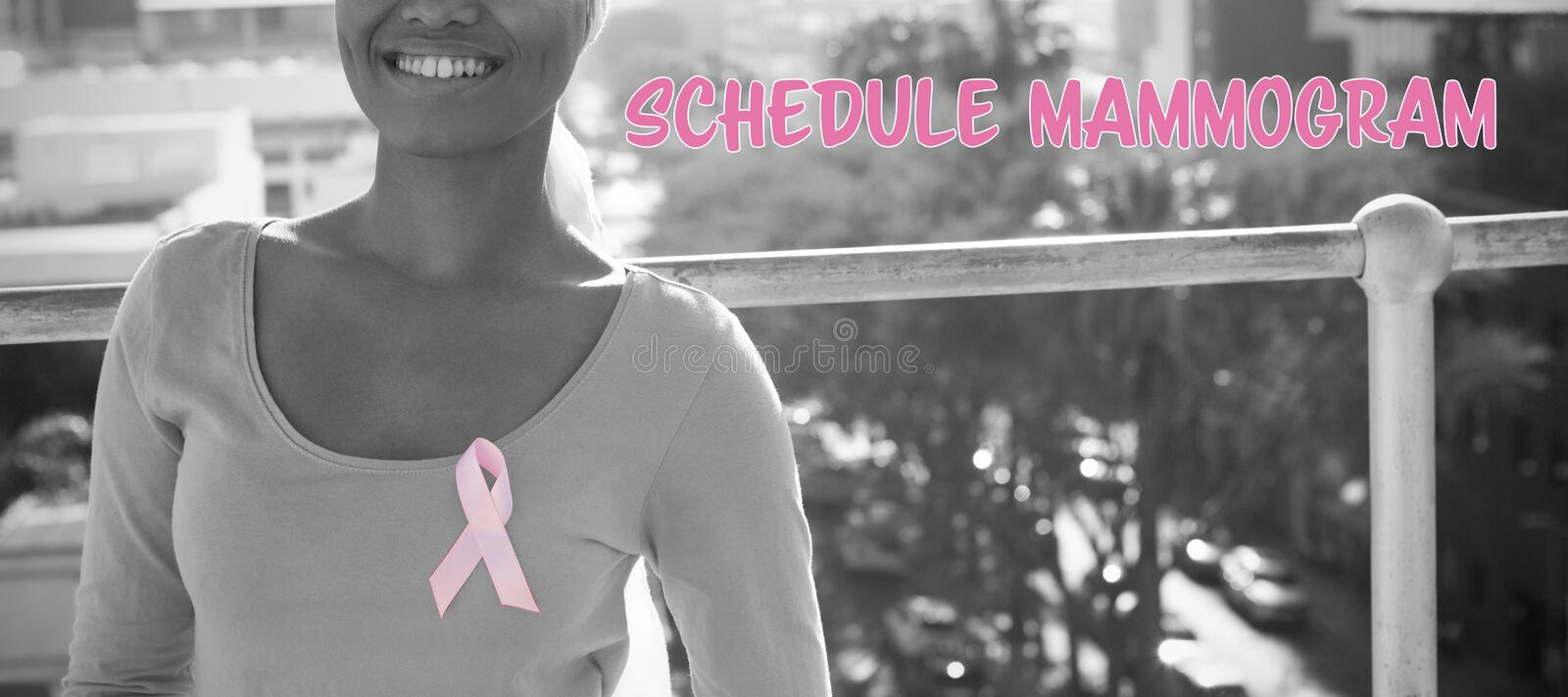 Composite image of schedule mammogram text with breast cancer awareness ribbon stock images
