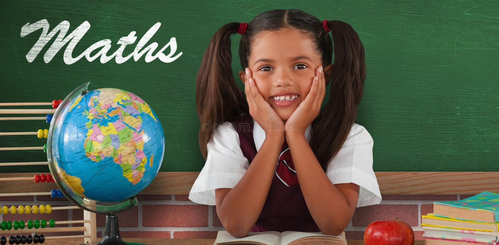 Composite image of schoolgirl leaning by globe and books stock images