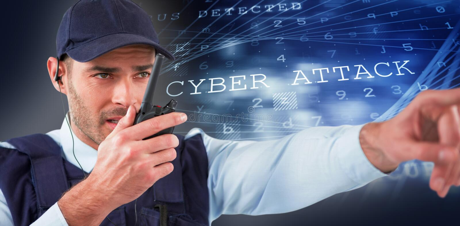 Composite image of security officer talking on walkie talkie while pointing away. Security officer talking on walkie talkie while pointing away against virus stock photos