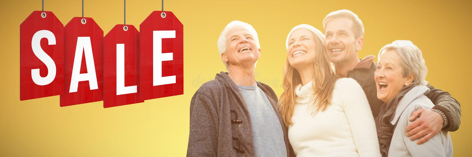 Composite image of senior family laughing stock photography