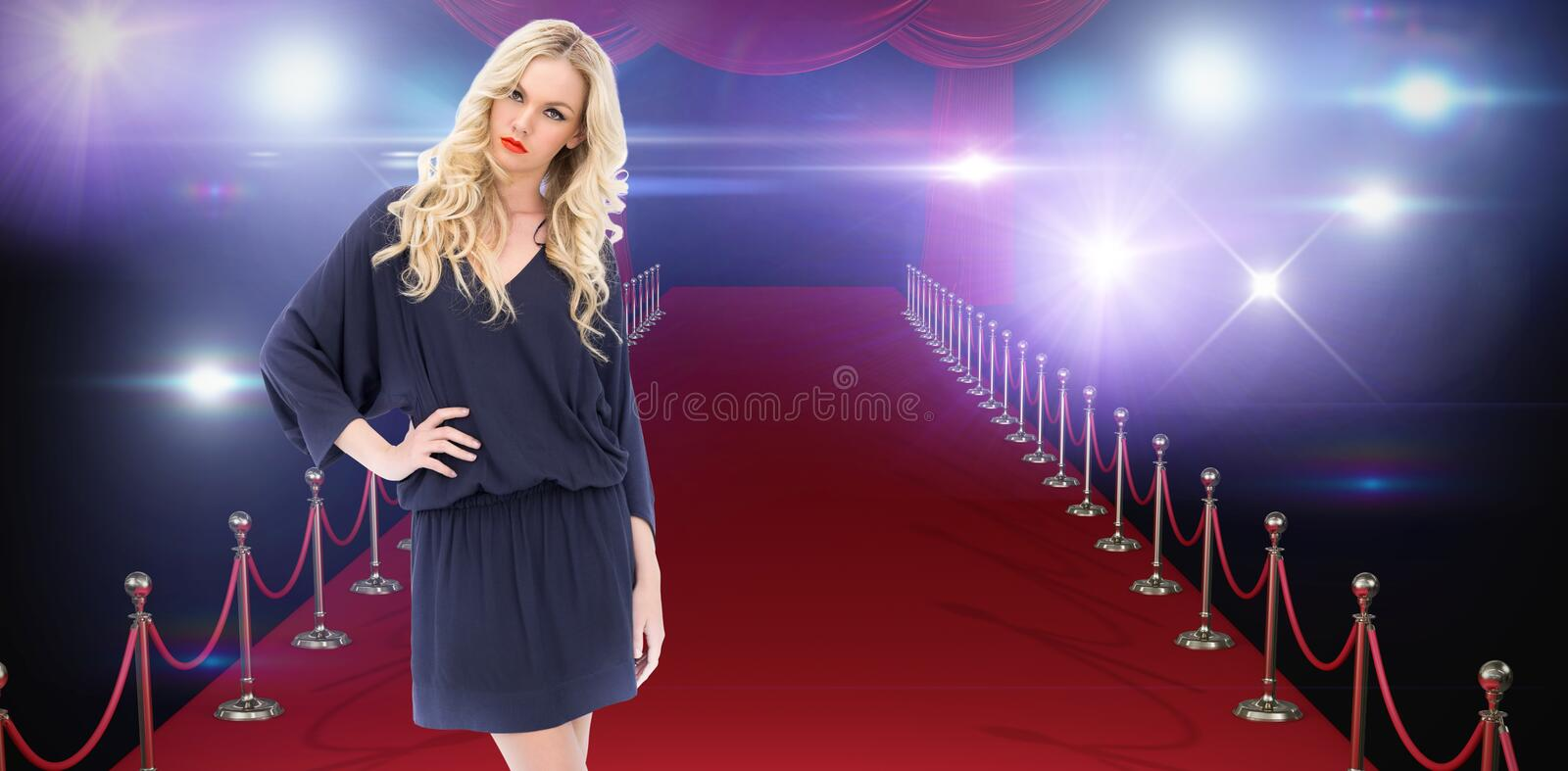 Composite image of serious gorgeous model wearing elegant dress posing stock images