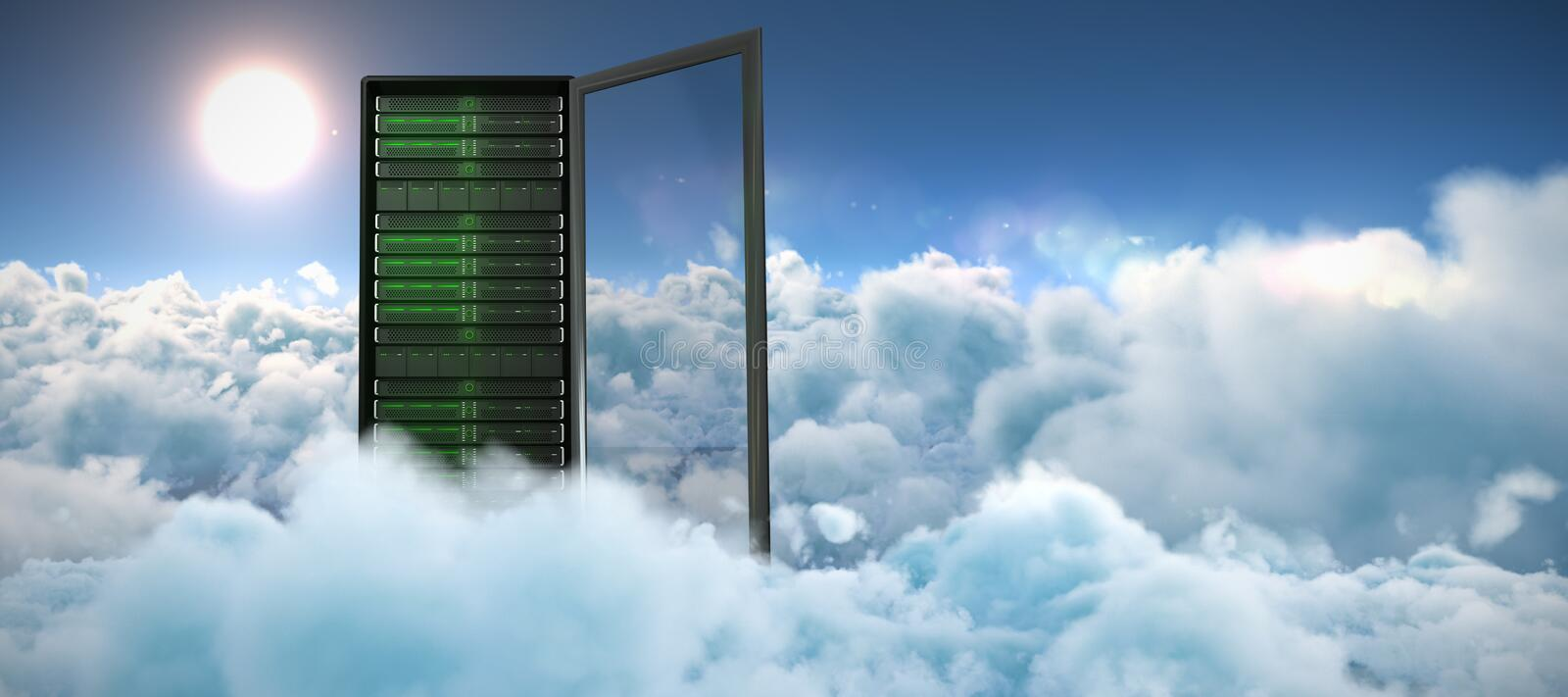 Composite image of server tower stock illustration