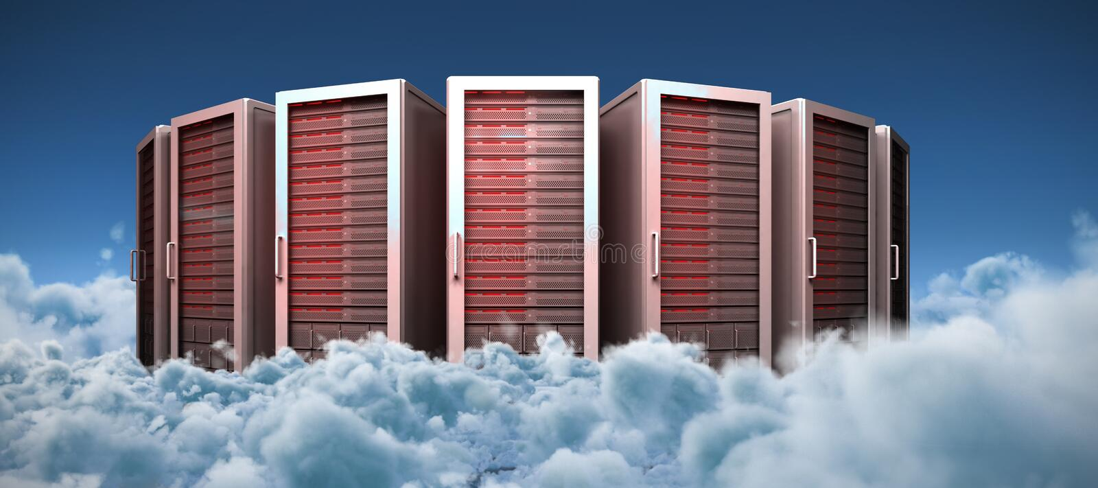 Composite image of server towers vector illustration