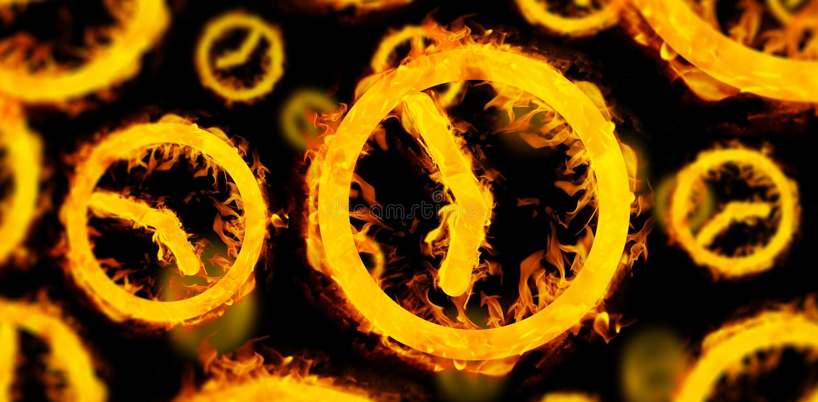 Composite image of several clocks in fire. Several clocks in fire against black royalty free illustration