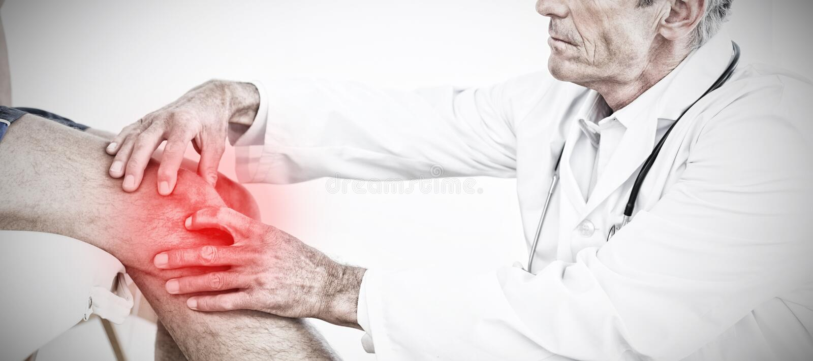 Composite image of side view of a mature doctor examining patients knee. Side view of a mature doctor examining patients knee against highlighted pain stock photos