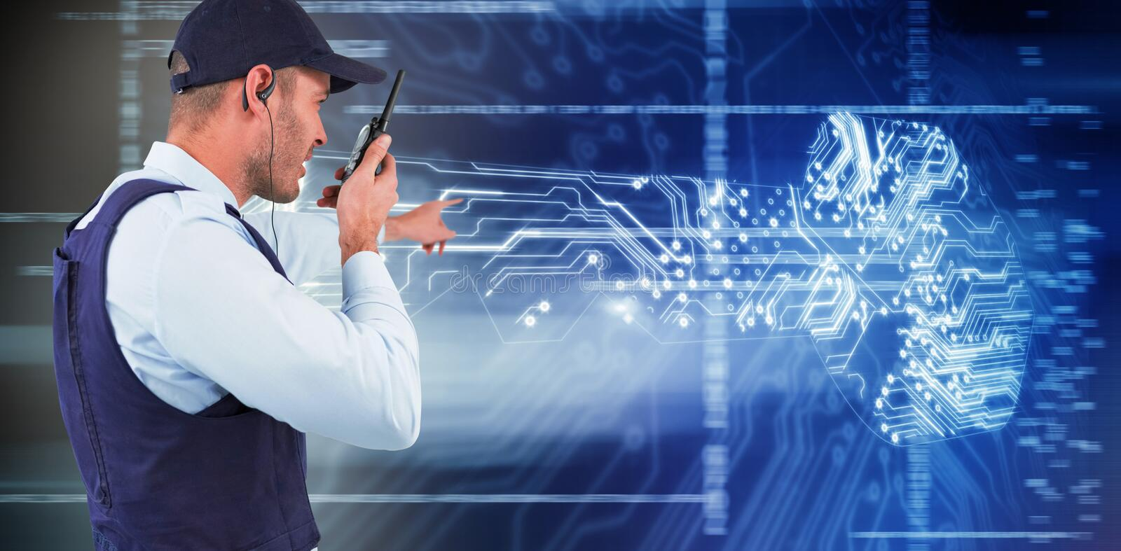 Composite image of side view of security officer talking on walkie talkie. Side view of security officer talking on walkie talkie against virus background royalty free stock image