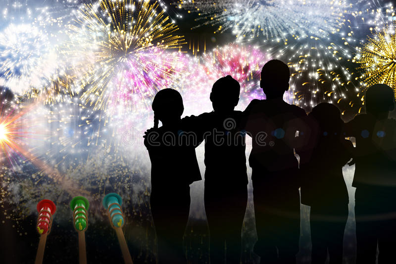 Composite image of silhouette children standing royalty free illustration