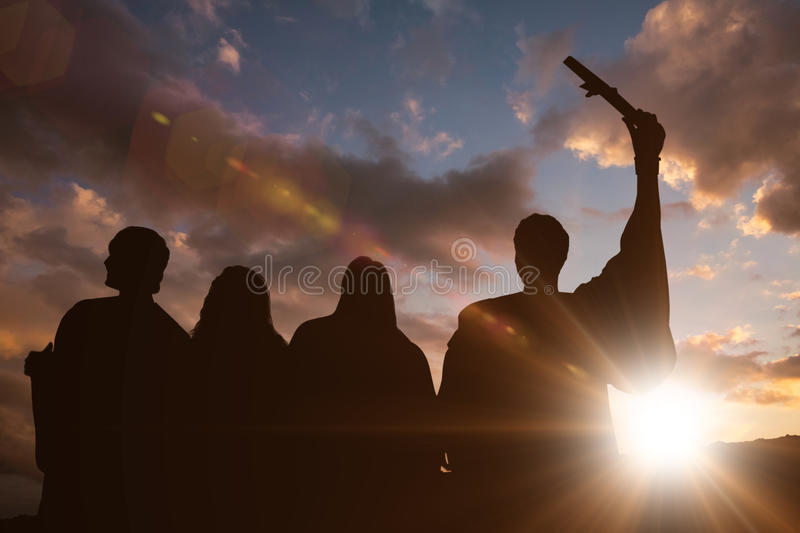 Composite image of silhouette of graduate royalty free stock image