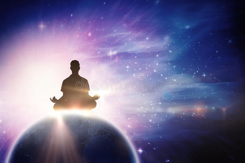 Composite image of silhouette man doing meditation stock photo