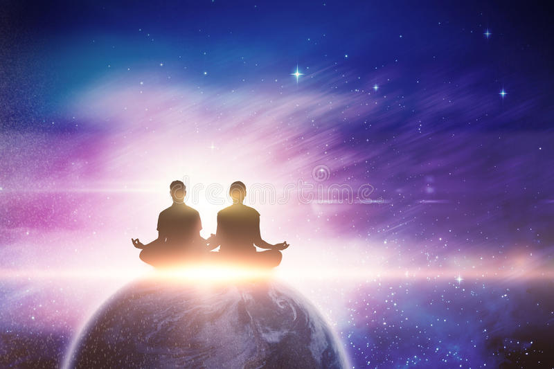 Composite image of silhouette man and woman doing meditation stock photos
