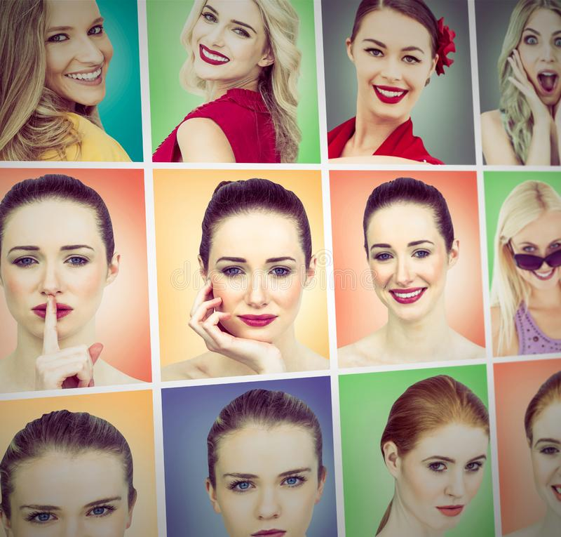 Composite image of composite image of smiling blonde natural beauty stock photography