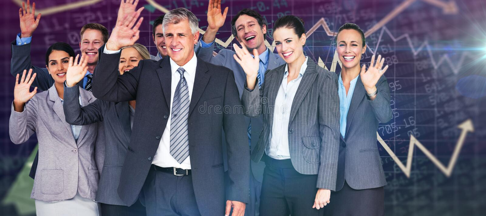 Download Composite Image Of Smiling Business Team Waving At Camera Stock Image - Image of front, attractive: 57816099