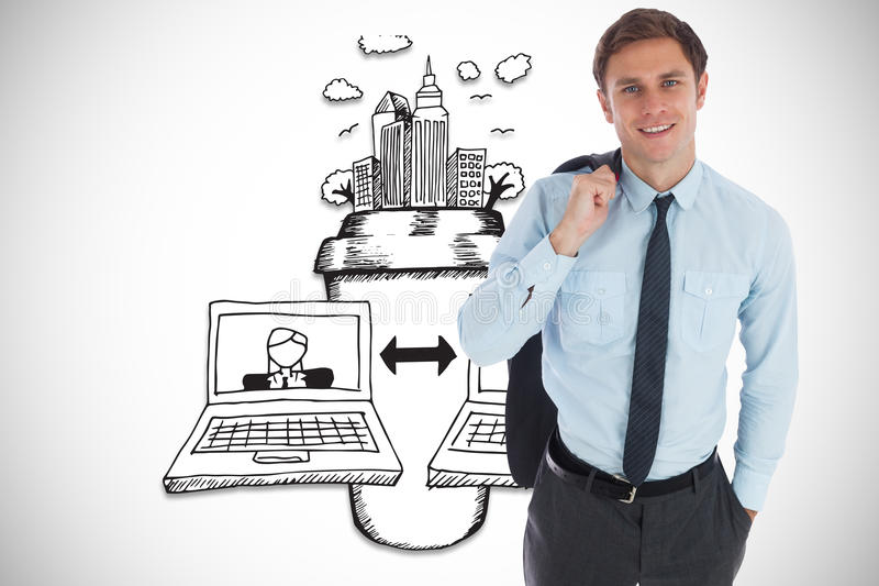 Composite image of smiling businessman holding his jacket stock photo
