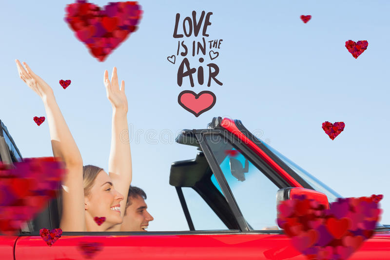 Composite image of smiling couple going on holidays together. Smiling couple going on holidays together against love is in the air stock illustration