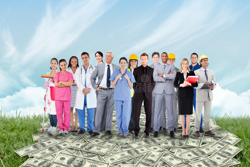 Composite image of smiling group of people with different jobs royalty free stock photos
