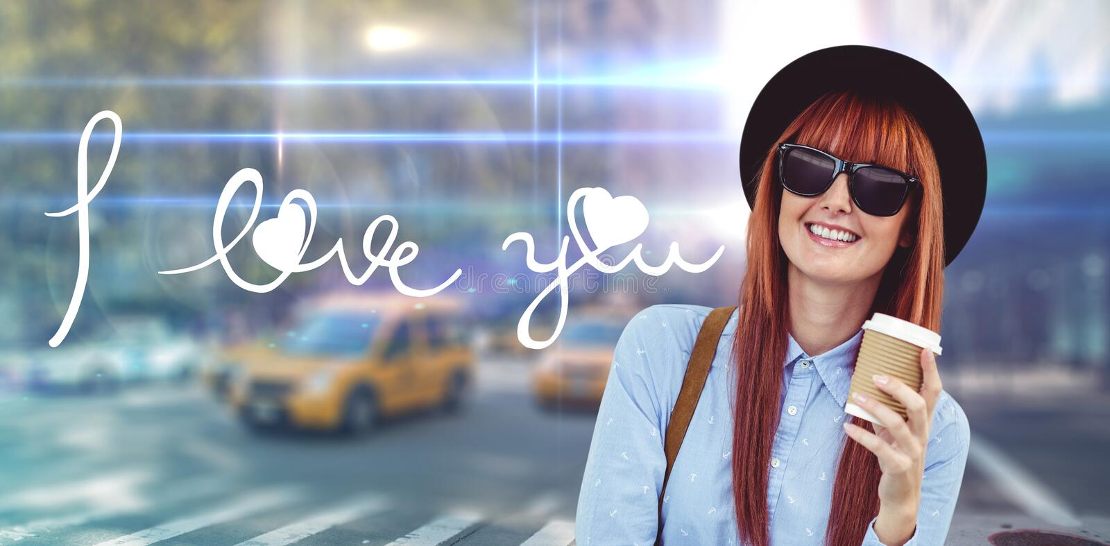 Composite image of smiling hipster woman drinking coffee. Smiling hipster woman drinking coffee against blurred new york street stock photos
