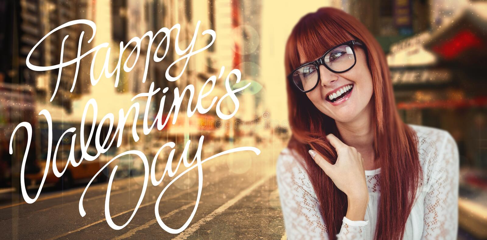 Composite image of smiling hipster woman posing face to the camera. Smiling hipster woman posing face to the camera against blurry new york street stock photos