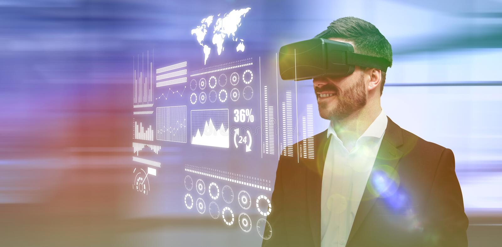 Composite image of smiling young businessman using virtual reality glasses stock illustration