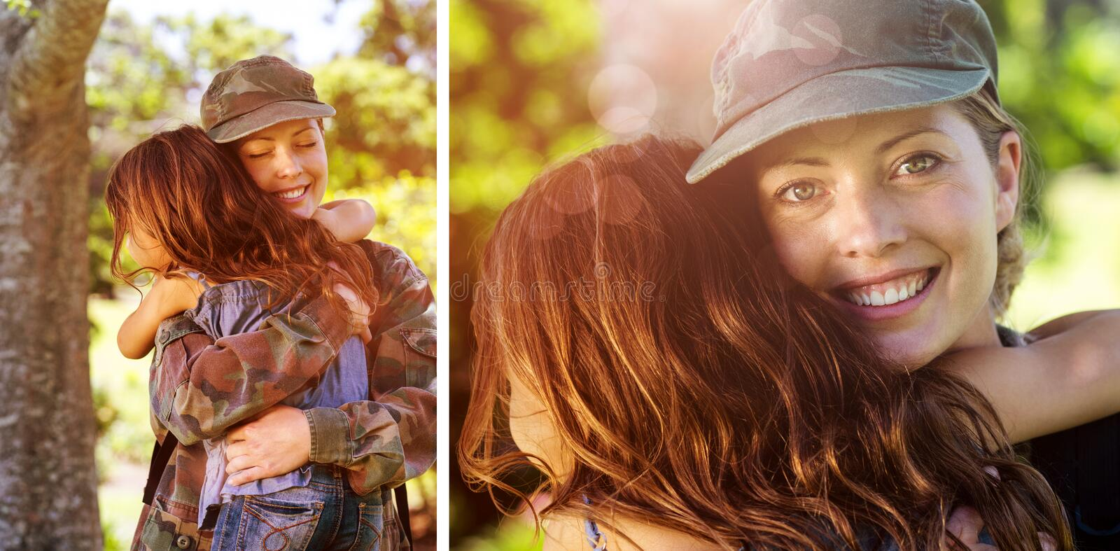 Composite image of a soldier mother hugging her daughter stock photography