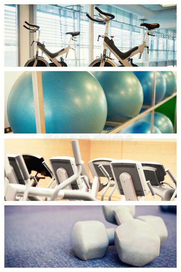 Composite image of spin bikes in fitness studio stock photo