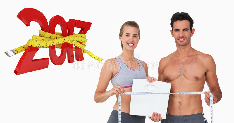 Composite image of sporty couple holding scales and measuring tape royalty free illustration
