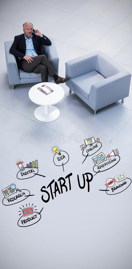 Composite image of start up doodle. Start up doodle against white background with vignette royalty free stock image