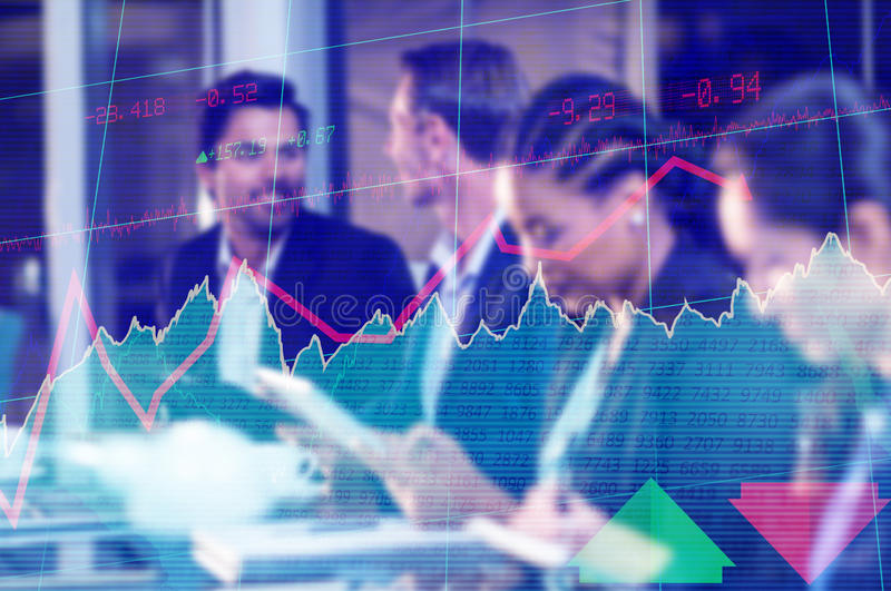 Composite image of stocks and shares. Stocks and shares against businesswoman interacting with colleagues royalty free stock images