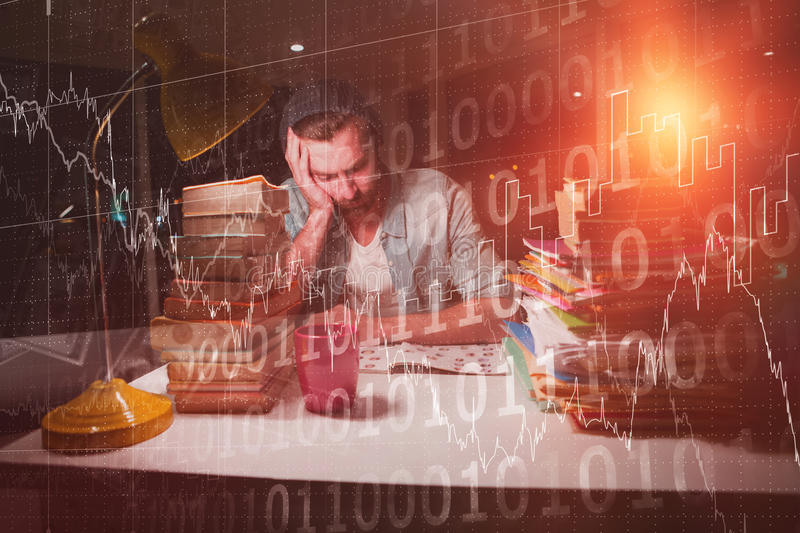 Composite image of stocks and shares. Stocks and shares against thoughtful hipster with stacks of books royalty free stock image