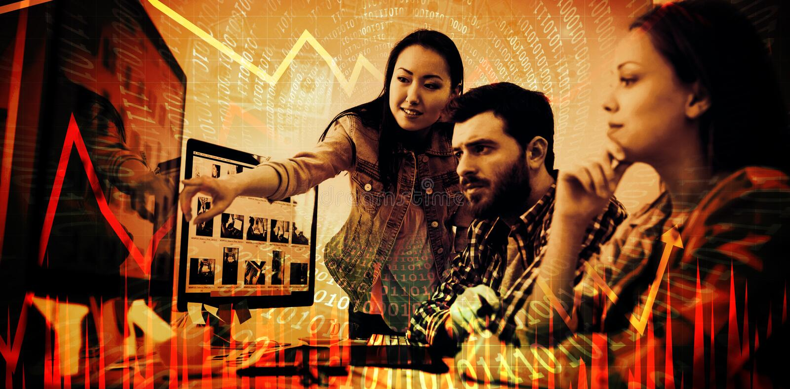 Composite image of stocks and shares. Stocks and shares against businesswoman showing computer screen to coworkers royalty free stock images