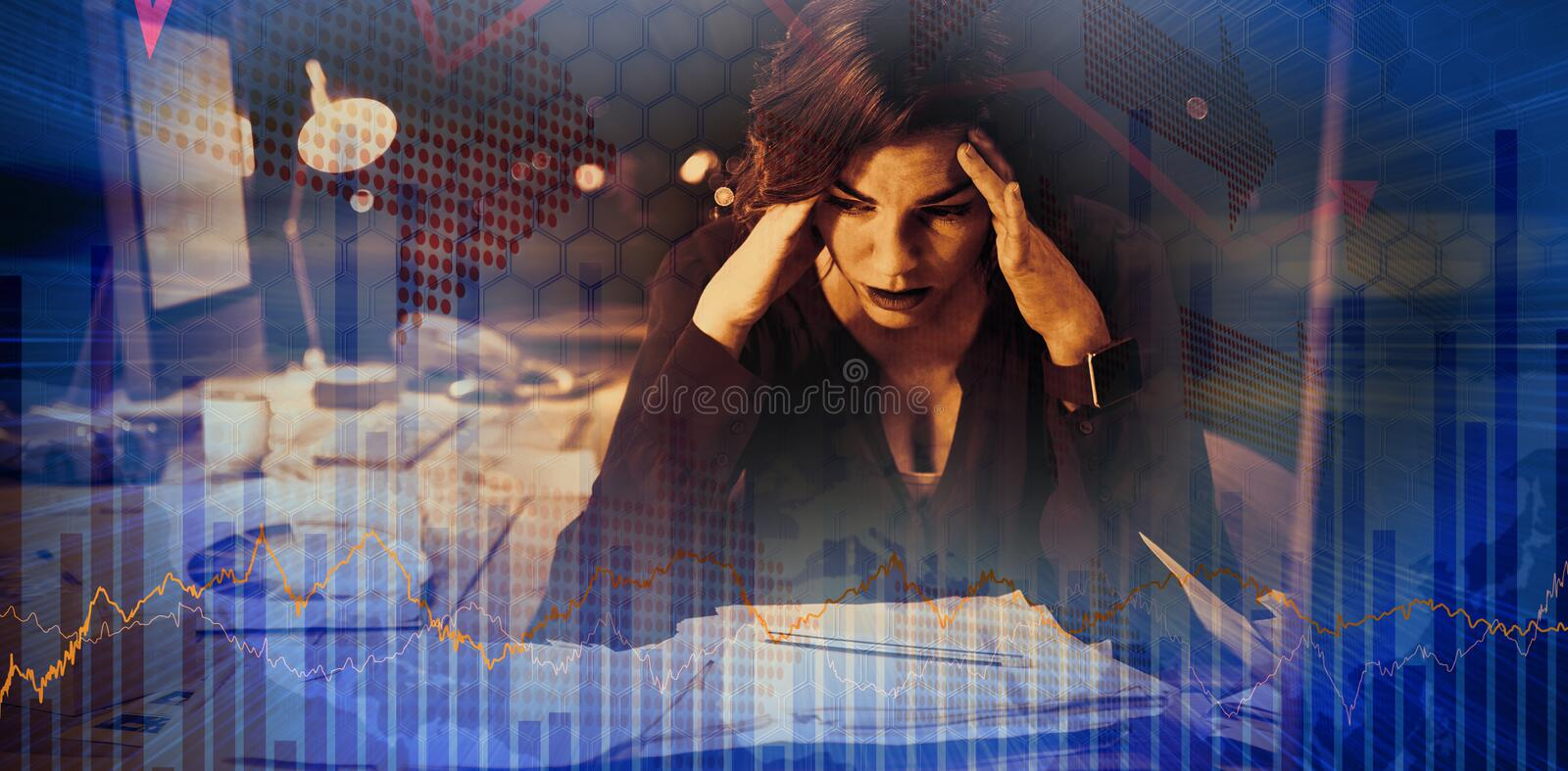Composite image of stocks and shares. Stocks and shares against stressed businesswoman sitting in front of computer stock images