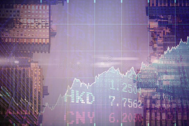 Composite image of stocks and shares. Stocks and shares against sunlight falling on buildings during sunset royalty free stock photo