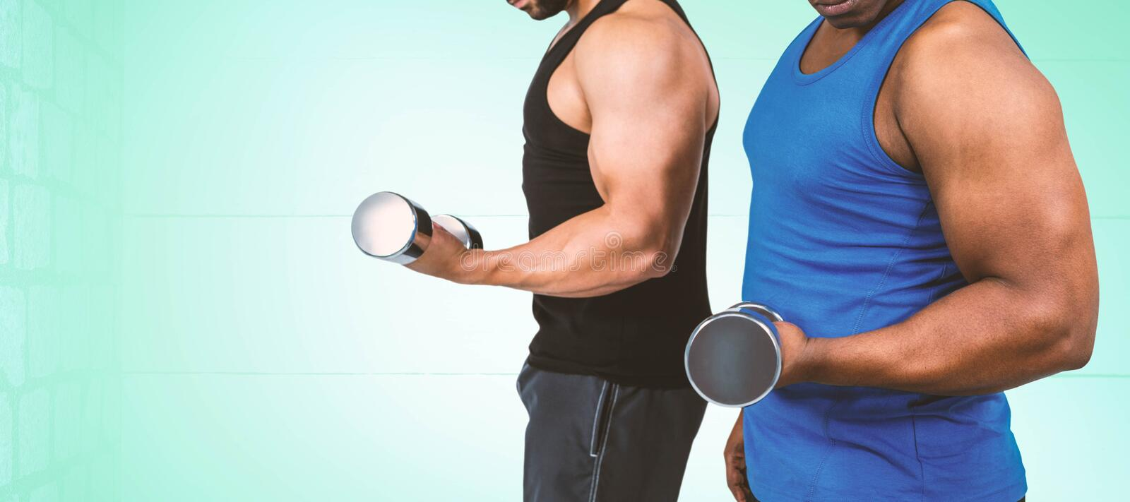 Composite image of strong friends posing with dumbbells royalty free stock photography