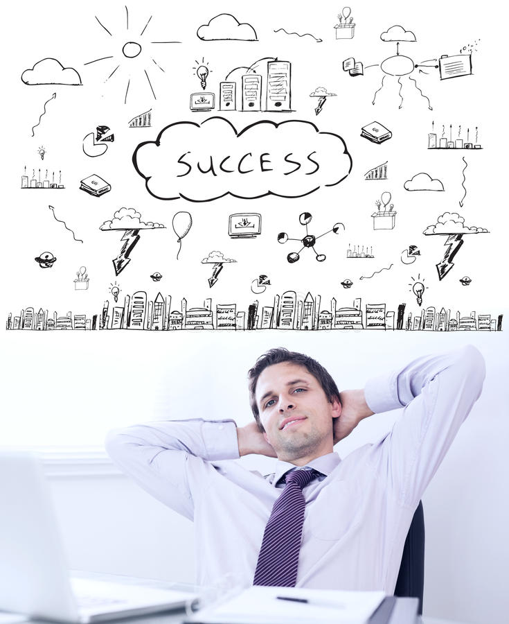 Composite image of success brainstorm. Success brainstorm against relaxed businessman with hands behind head in office royalty free stock image