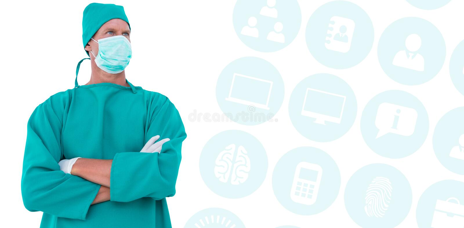 Composite image of surgeon standing arms crossed looking away. Surgeon standing arms crossed looking away against multiple blue icons royalty free stock images