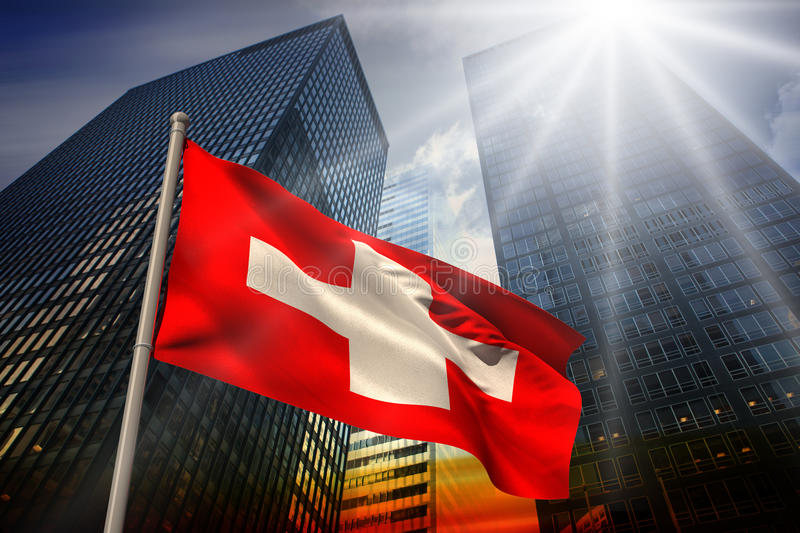 Composite image of swiss national flag. Swiss national flag against low angle view of skyscrapers at sunset vector illustration