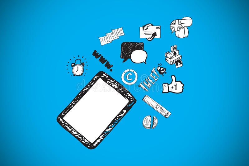Composite image of tablet pc and app doodles. Tablet pc and app doodles against blue background with vignette vector illustration