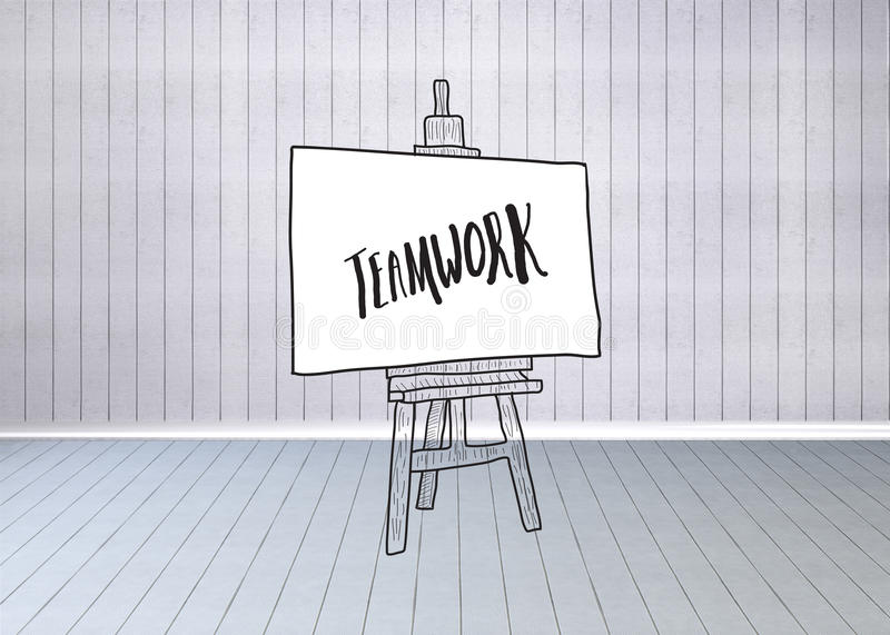 Composite image of teamwork text on easel royalty free stock images