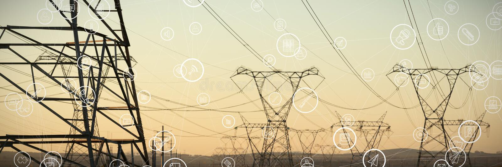 Composite image of technology icons. Technology icons against the evening electricity pylon silhouette stock images