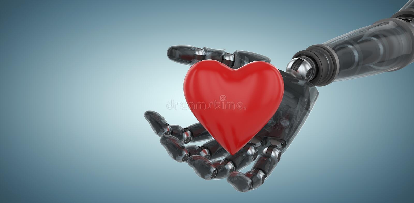 Composite image of three dimensional image of cyborg showing red heart shape 3d. Three dimensional image of cyborg showing red heart shape against grey vignette stock illustration